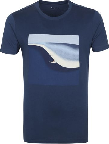 KnowledgeCotton Apparel T-shirt Alder Surf Donkerblauw