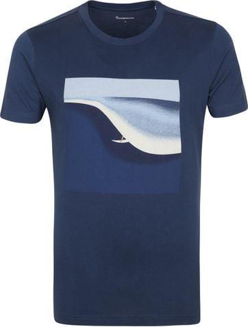 KnowledgeCotton Apparel T-shirt Alder Surf Donkerblauw
