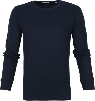 KnowledgeCotton Apparel Trui Waves Donkerblauw