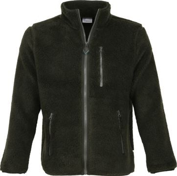 KnowledgeCotton Apparel Zip Teddy Jack Dark Green