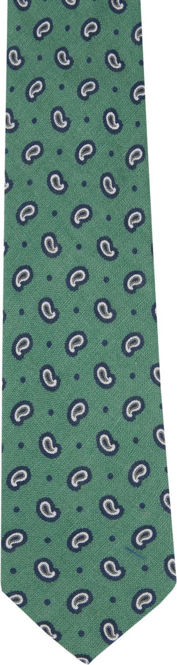 Krawatte Leinen Paisley Grün