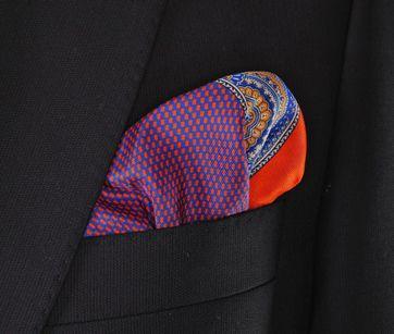 Krawatte mit Einstecktuch Seide Orange Lila