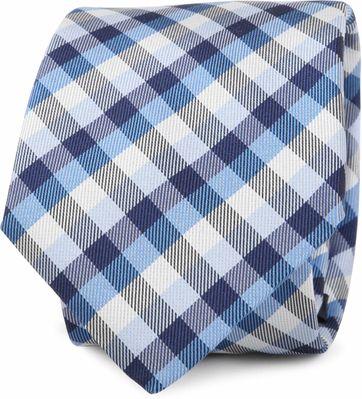 Krawatte Seide Blau Karo Motiv