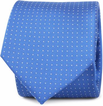 Krawatte Seide Blau Punkte Muster