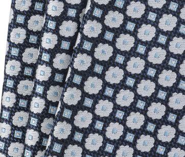 Detail Krawatte Seide Blume Dunkelblau 9-17