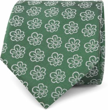 Krawatte Seide Blumen Grün