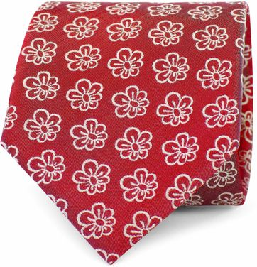 Krawatte Seide Blumen Rot