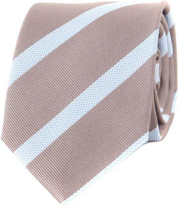 Krawatte Seide Braun Hellblau Streifen
