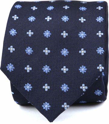 Krawatte Seide Dunkelblau Blume K82-22
