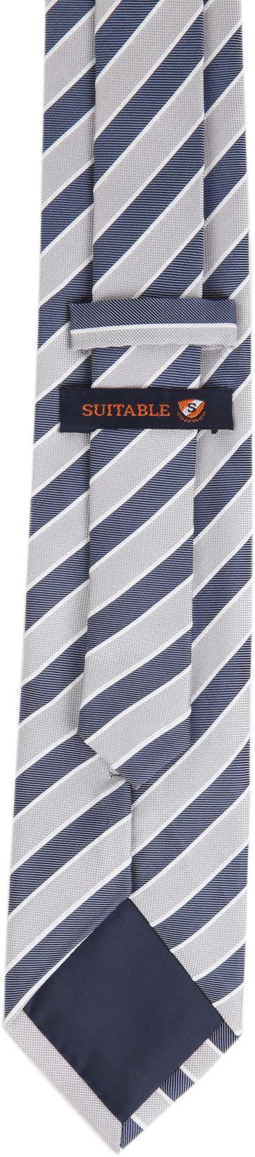 Krawatte Seide Dunkelblau Grau Streifen