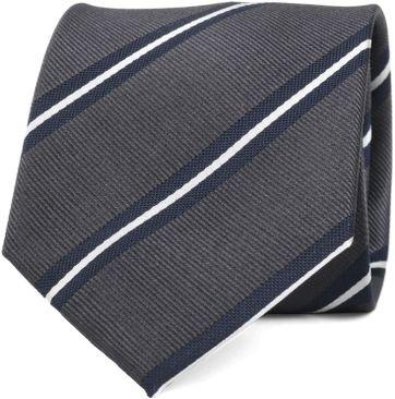 Krawatte Seide Dunkelgrau Streifen