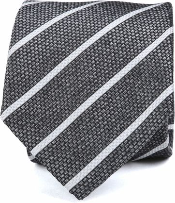 Krawatte Seide Grau Weiß Streifen K82-1