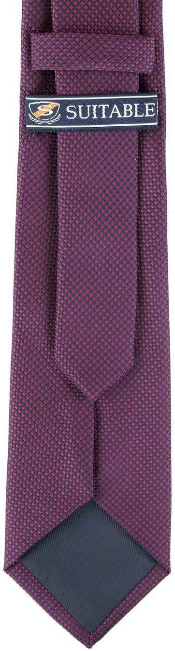 Detail Krawatte Seide Karo Bordeaux 9-17