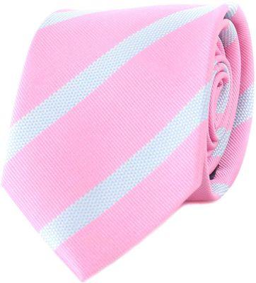 Krawatte Seide Rosa Weiß Streifen