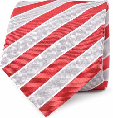 Krawatte Seide Rot Grau Streifen