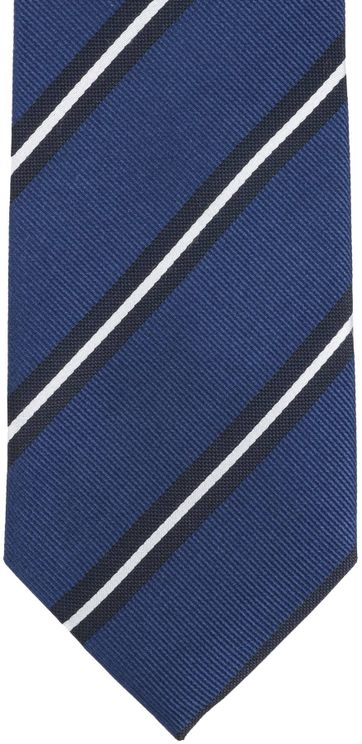 Detail Krawatte Seide Streifen Blau