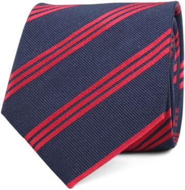 Krawatte Seide Streifen Navy Rot