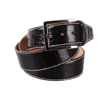 Leather Belt Croco Black G71