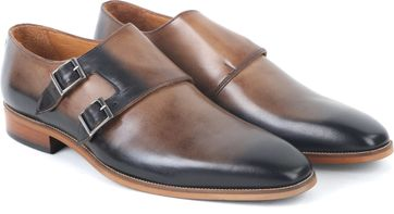 Leder Schuh Doppel Strap Braun