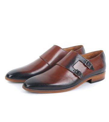 Leder Schuh Doppel Strap Cognac