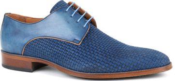 Leder Schuh Zopf Blau