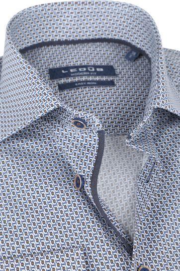 Ledub Baumwolle Hemd Print Muster Navy Orange