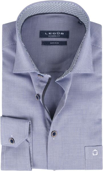Ledub Bügelfrei Baumwolle Hemd Blau