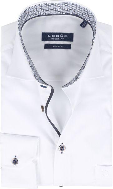Ledub Bügelfrei Baumwolle Hemd Weiß