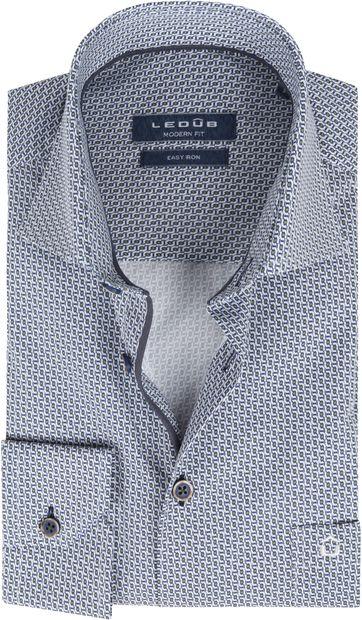 Ledub Cotton Shirt Print Pattern Navy