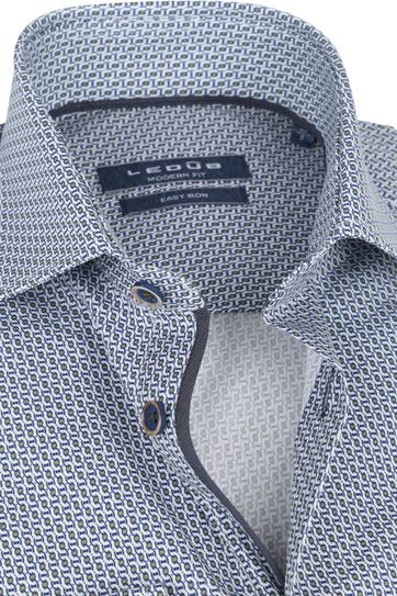 Ledub Cotton Shirt Print Pattern Navy