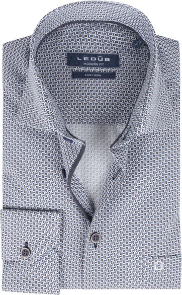 Ledub Cotton Shirt Print Pattern Navy Orange