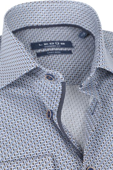 Ledub Cotton Shirt Print Pattern Navy Orange