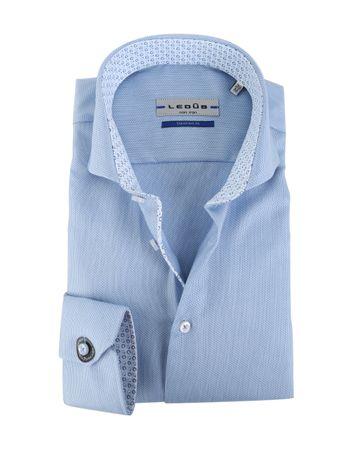 Ledub Hemd Blauw Dessin SL7