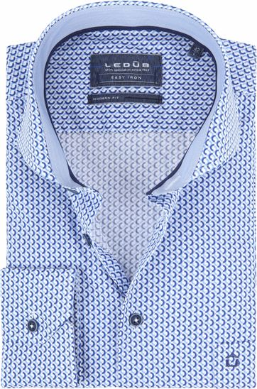 Ledub Hemd Blauw Patroon
