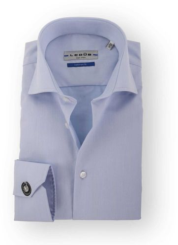 Ledub Hemd Bügelfrei Blau Sleeve 7