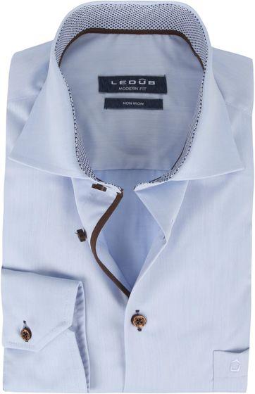 Ledub Hemd Bügelfrei Blauw