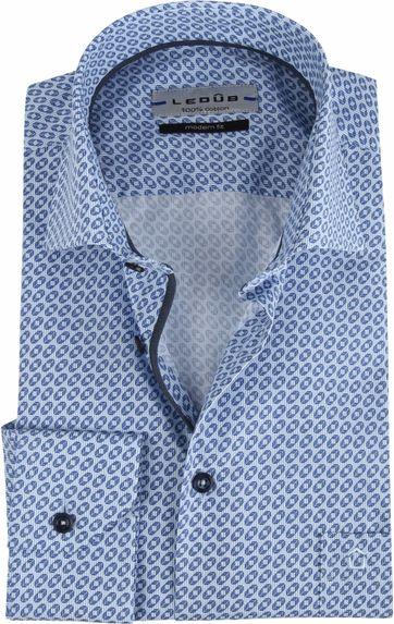 Ledub Hemd MF Blauw Dessin