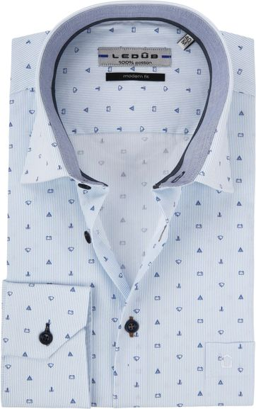 Ledub Hemd MF Dessin Blau