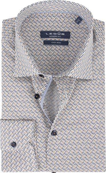 Ledub Hemd Print Braun Muster