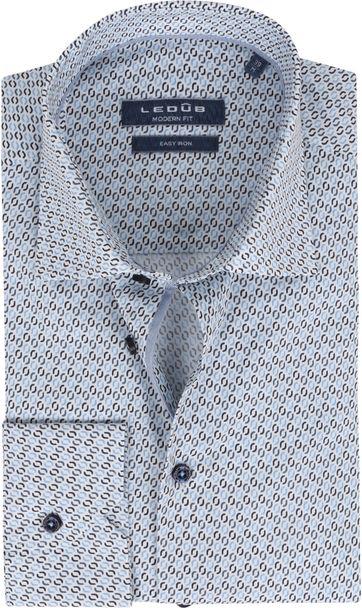 Ledub Hemd Print Hellblau Muster