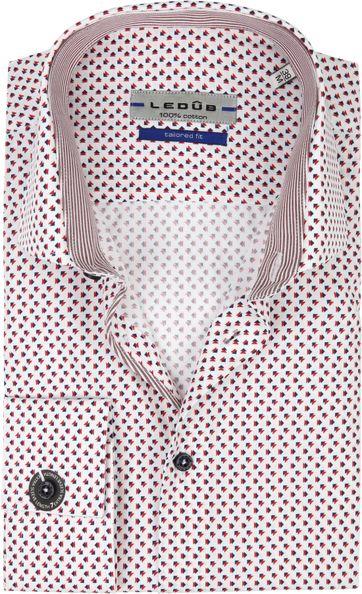 Ledub Hemd Print Rot Blau SL7