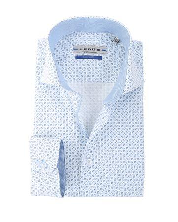 Ledub Hemd Wit + Blauw Print