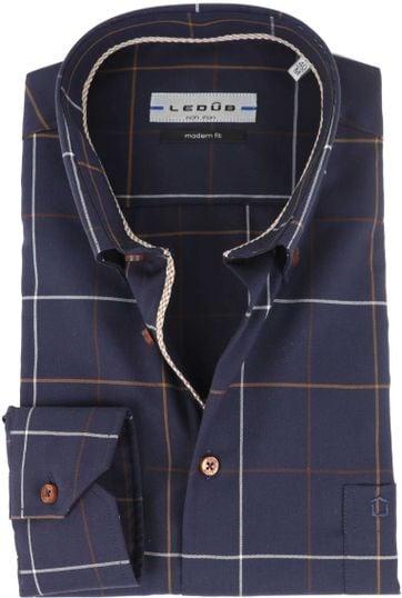 Ledub Non Iron Shirt Navy Checks