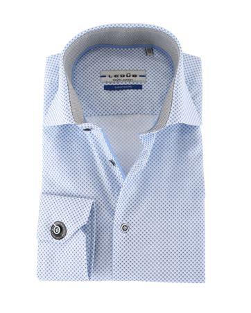 Ledub Overhemd Blauw Bloem SL7