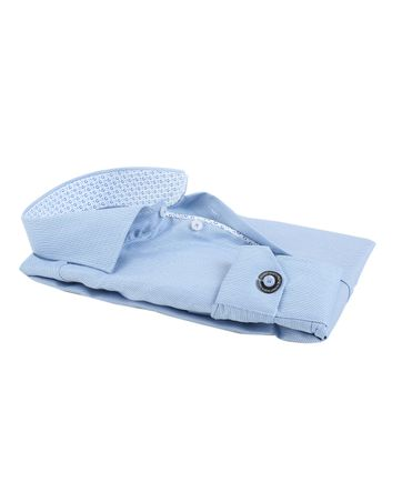 Detail Ledub Overhemd Blauw Dessin SL7