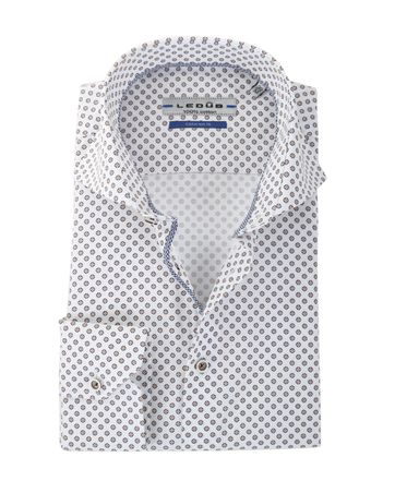 Ledub Overhemd Bruin-Wit Ruit