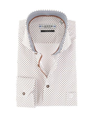 Ledub Overhemd Cutaway Bruin Print