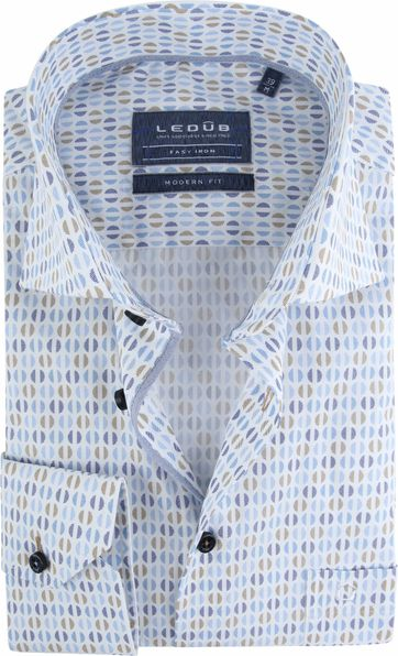 Ledub Overhemd Dessin Blauw Bruin
