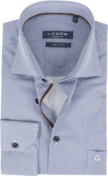 Ledub Overhemd Donkerblauw Bollen