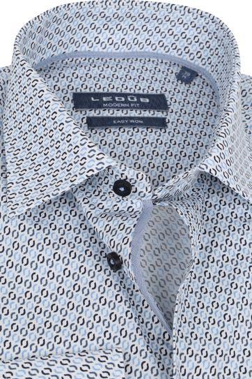 Ledub Overhemd Lichtblauw Patroon